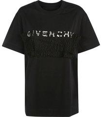 givenchy logo ruffled detail t-shirt