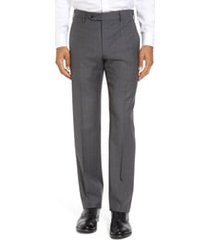 men's zanella parker flat front classic fit sharkskin wool dress pants, size 35 x unhemmed - grey