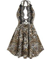 plus size leopard print open back babydoll set