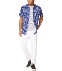 nautica men's tropical floral-print oxford shirt