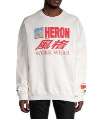 heron preston men's graphic logo sweatshirt - white multi - size xs