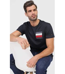 camiseta tommy hilfiger logo azul-marinho