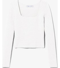 proenza schouler white label quilted knit square neck top /white l