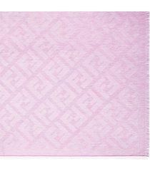 women's fendi ff logo jacquard cashmere & cotton scarf