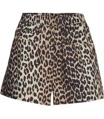 printed cotton poplin shorts flowy shorts/casual shorts brun ganni