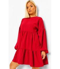 petite gelaagde jurk met ballonmouwen, berry
