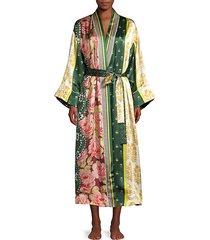 spruce floral patchwork silk robe