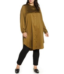 plus size women's eileen fisher mandarin collar satin tunic top