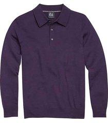jos. a. bank traveler men's purple modern fit merino wool long sleeve polo sweater - size: 2x