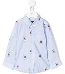 lapin house striped teddy bear print shirt - blue