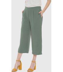 pantalón vero moda culotte annie verde - calce holgado
