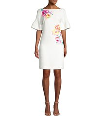 soujourn classic crepe embroidered dress