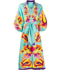 yuliya magdych floral embroidered frayed edge dress - blue