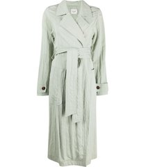 alysi belted mid-length coat - green