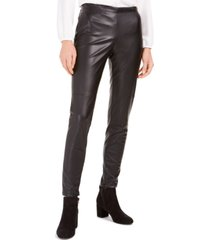 bar iii faux-leather skinny pants, created for macy's