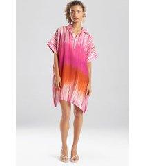 natori painted tie-dye caftan dress, women's, pink, size l natori