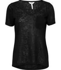 objtessi slub s/s v-neck noos t-shirts & tops short-sleeved svart object