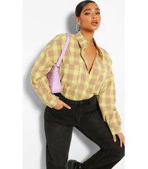plus oversized boyfriend flannel shirt, lime
