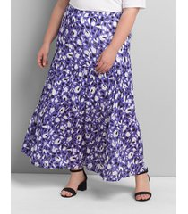 lane bryant women's floral seamed maxi skirt 18/20 purple and white