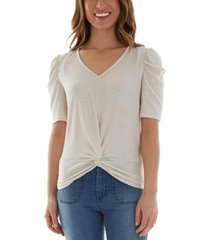 bcx juniors' twisted puff-sleeve top
