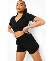 geribbelde crop top met kraag detail en shorts, black