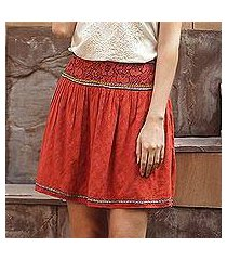 embroidered cotton skirt, 'assam terracotta' (india)