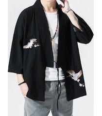 cárdigan anudado con estampado animal de grúa de abrigo de protección solar retro informal de otoño para hombre