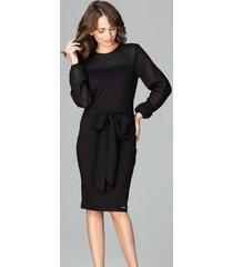 sukienka midi z długim rękawem