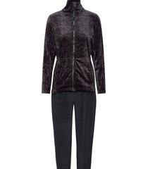 decoy velour homewear set pyjamas svart decoy