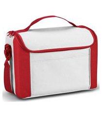 bolsa térmica pequena spazio topget  branco e vermelho