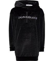 velour monogram hoodie dress hoodie trui zwart calvin klein