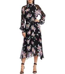 a.l.c. casey long-sleeve floral dress - black purple - size 0