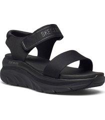 womens d'lux walker shoes summer shoes flat sandals svart skechers