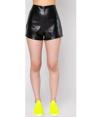 akira slick high waist faux leather shorts