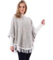poncho feminino grande de tricô sumaré 31170 - feminino