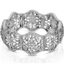 2028 silver-tone flower filigree stretch bracelet