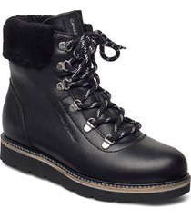 aspen lace up fur shoes boots ankle boots ankle boot - flat svart canada snow