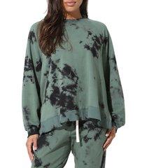 women's electric & rose bowie tie dye sweatshirt, size small - green