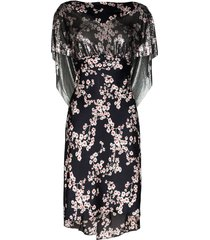 black sakura floral print dress