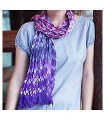 tie-dyed scarf, 'fabulous amethyst' (thailand)