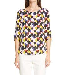 women's akris punto abstract dot blouse, size 14 - black