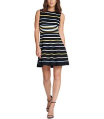 vince camuto petite striped fit & flare dress