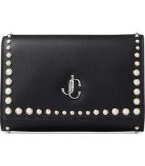 jimmy choo pearl-detail monogram clutch bag - black