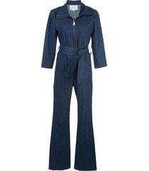 carolina ritzler zip-up denim jumpsuit - blue