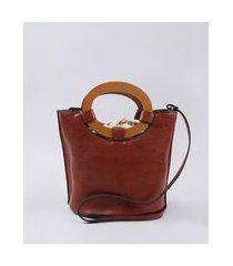 bolsa feminina balde tote média com argola de madeira e alça transversal cobre