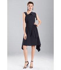 cotton poplin asymmetrical dress, women's, black, size 4, josie natori