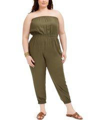 full circle trends trendy plus size strapless cargo jumpsuit