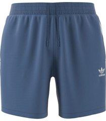 men's adidas originals 3-stripe swim trunks, size medium - blue