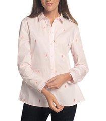 blusa edc bordada 100% algodón rosado esprit