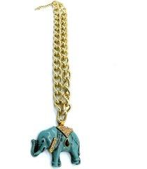 colar amora mel elefante azul - dourado - feminino - dafiti